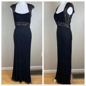 Cashe Luxe Silk Black Maxi Evening Dress. Size 6.